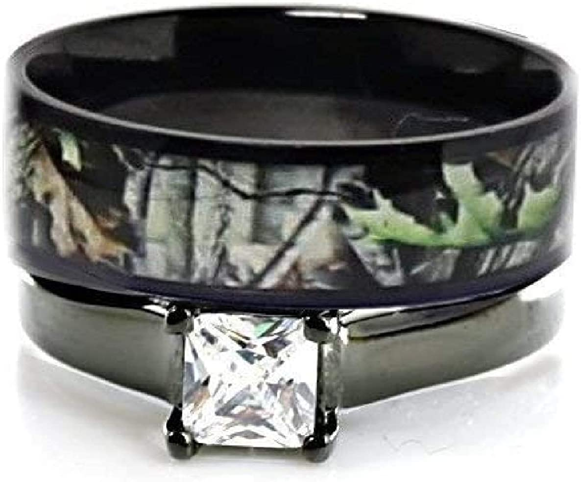 2 Cash special price pc Camo Wedding Rings - R OFFicial Ring Solitaire Set