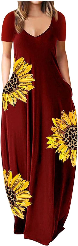 Tavorpt Maxi Dresses for Women, Women's Casual Summer V-neck Sunflower Print Loose Long Dress with Pocket Beach Sundress
