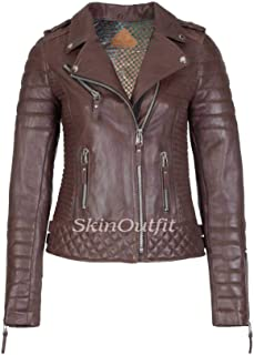 SKINOUTFIT Women's Leather Jackets Motorcycle Biker Genuine Lambskin XS Brown
