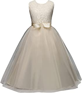 ce1a55f8f FantastCostumes Tulle Pageant Embroidered Princess Lace Flower Girl Wedding  Dresses