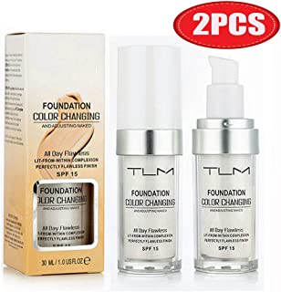 2 PCS TLM Perfect Flawless Colour Changing Warm Skin Tone Foundation Makeup Base Nude Face Moisturizing Liquid Cover Concealer