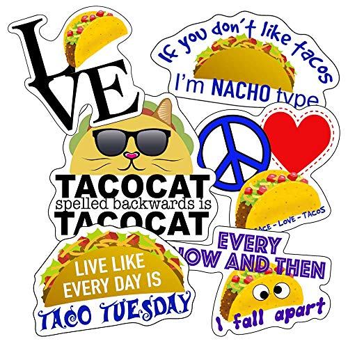 Taco Stickers - Perfect Taco Gifts for Taco Lovers - Look Great On Water Bottles, Laptops, Car Decals, Kids, Large Waterproof Made of 100% Vinyl