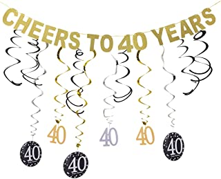 Gold 40th Birthday Party Decorations KIT - Cheers to 40 Years Banner, Sparkling Celebration 40th Hanging Swirls, 40 Years Old Party Supplies 40th Decorations