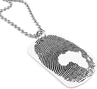 Africa DNA Fingerprint Military Style Dog Tag Pendant Jewelry Necklace Chain