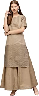AHALYAA Women's Chanderi Straight Kurta Sets (chikooBeige)