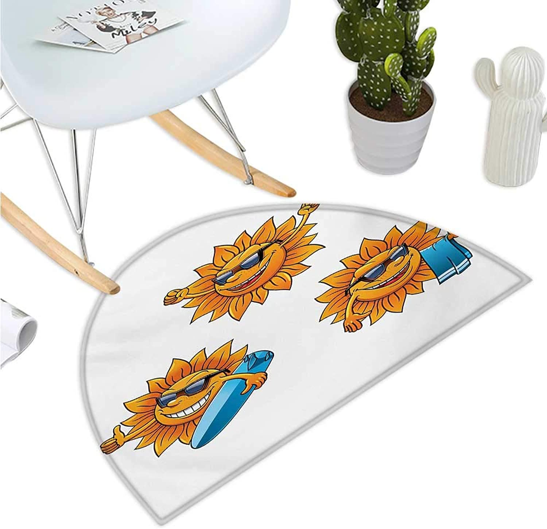 Cartoon Half Round Door mats Surf Sun Characters Wearing Shades and Surfboards Fun Hippie Summer Kids Design Bathroom Mat H 51.1  xD 76.7  orange White