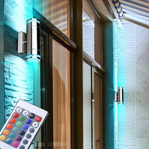 2er Set RGB LED Garten Wand Strahler Außen Lampen Fernbedienung Haus Tür Up Down Strahler dimmbar