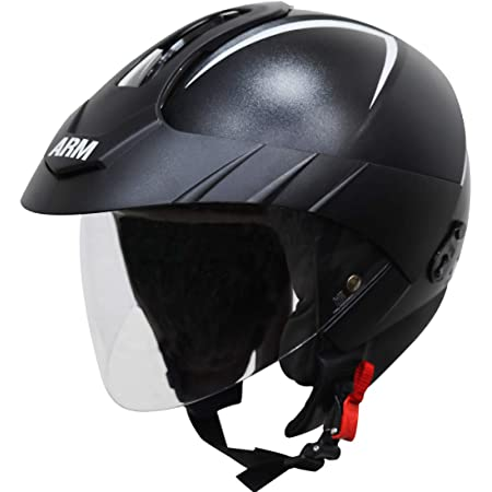 Steelbird SB-33 ARM 7Wings Open Face Helmet with Peak Cap (Large 600 mm, Dashing Black with Clear Visor)