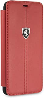 CG Mobile Ferrari Bookstyle Genuine Leather Case for Samsung Galaxy S9 Hard Cell Phone Cover with Contrasting Stitching Fi...