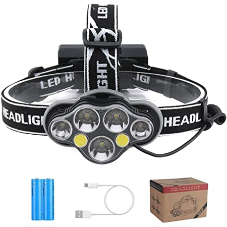 VASROM Headlamp Rechargeable Waterproof, 7 LED Headlight Flashlight with USB Cable 2 Batteries, 8 Modes for Outdoor Camping Running Fishing Hard Hat Light