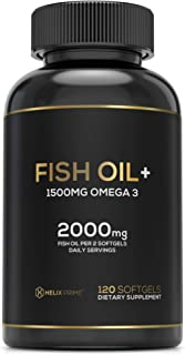 Fish Oil Supplement with 1500mg Omega 3 Including EPA DHA 120 Softgels with Natural Lemon Flavor HELIX PRIME Omega 3 Fish ...