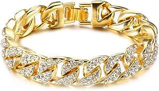 Hip Hop Plated 18K Gold Stainless Steel 14MM Wide Cuban Chain Bracelet Crystal Link Bracelet,8 1/2 Wrist