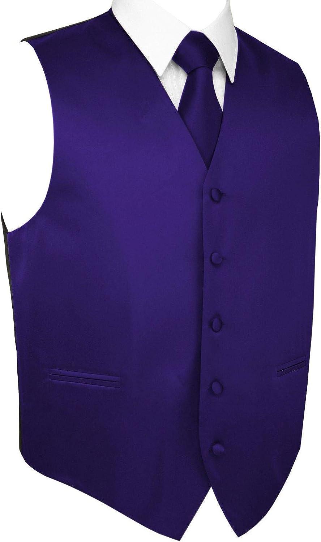 Men's Formal Tuxedo Vest, Tie & Pocket Square Set in Purple