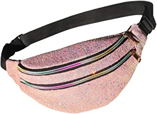 Glitter Fanny Pack Sparkly Waist Bag Shine Waist Pack for Women Rave Party Festival Travel Beach Shoulder Bag Outdoor Belt Bags