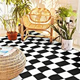 SAND MINE Reversible Mats, Plastic Straw Rug, Modern Area Rug, Large Floor Mat and Rug for Outdoors, RV, Patio, Backyard, Deck, Picnic, Beach, Trailer, Camping (5' x 8', Black & White Checkered)