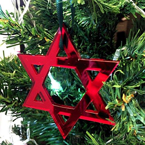 Espejo rojo estrella de David de árbol de Navidad - de diez unidades