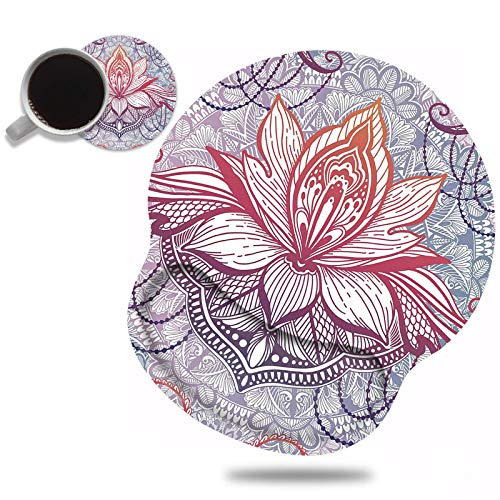 Ergonomic Mouse Pad Wrist Support and Cute Coffee Coaster, Vintage Colorful Boho Flowers Design Wrist Rest Mousepad, Pain Relief Wrist Mouse Pads for Computer Laptop Home Office