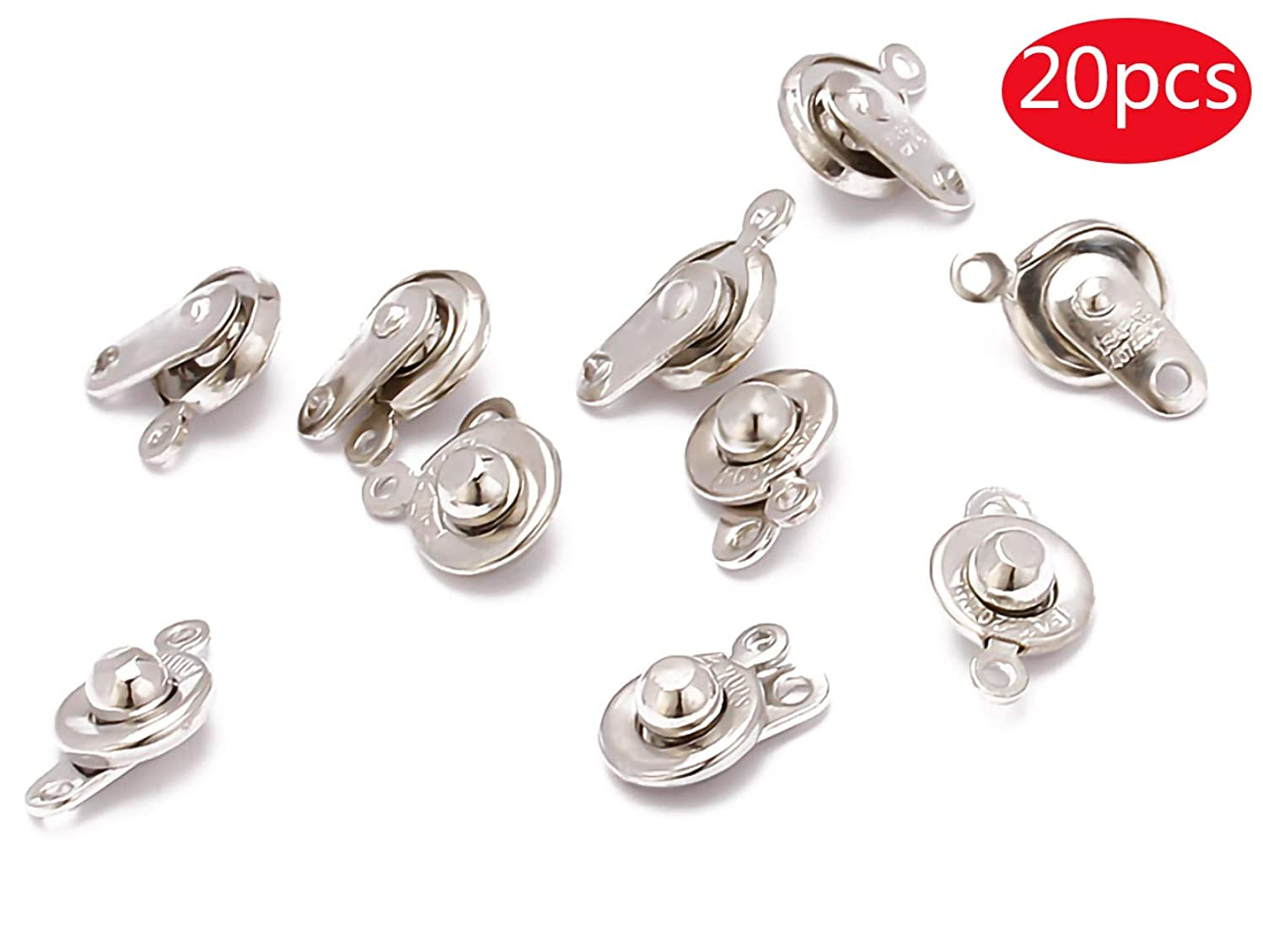 Tiparts 20 Sets Silver Copper Covered Button Connector Clasps for Necklace Bracelet Jewelry Findings (10x16mm)