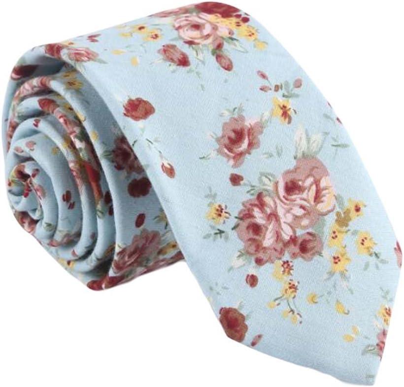 Wukong Direct Cotton Neckties Blue Flower Fashion Neckties Men Formal/Casual Decoration 6 cm