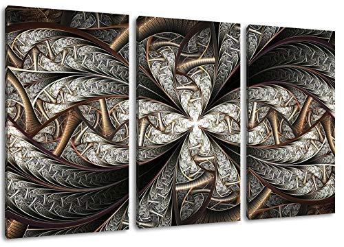 Metallic Mandala Format Dreiteiliges Gemälde Auf Leinwand Bilder Rahmenlose Dekoration