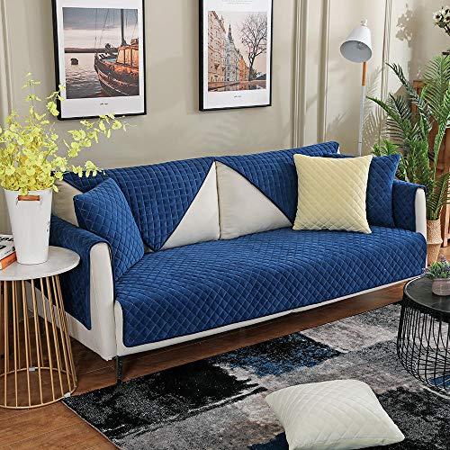 YUTJK Funda Universal para Sofá Antideslizante,Funda para Toalla de Sofá,Protector para Muebles,Acolchado de Felpa,Cojín de sofá a Cuadros de Felpa Corta,para sofás de Cuero,Azul Marino_110×240cm