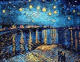 N / A I Famosi Dipinti di Van Gogh Sono Una Notte costellata di Stelle sul Rodano, Poster e Stampe Immagini impressioniste della Decorazione della Parete Senza Cornice Z4 60x80cm