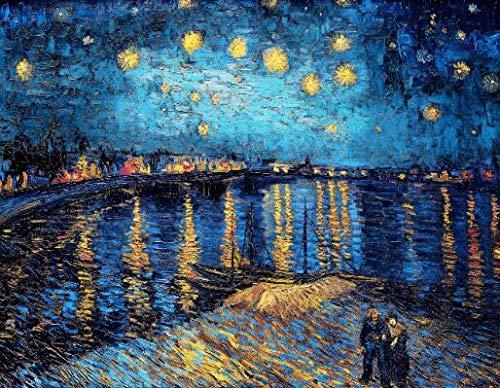 N / A I Famosi Dipinti di Van Gogh Sono Una Notte costellata di Stelle sul Rodano, Poster e Stampe Immagini impressioniste della Decorazione della Parete Senza Cornice Z4 50x70cm