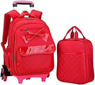 ASdf Cute School Bag Girl Primary School Climbing Floor Trolley Bag Detachable Trolley Backpack Outdoor Travel Decompression Waterproof Backpack (Color : RED)