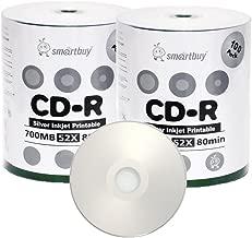 Smart Buy CD-R 200 Pack 700mb 52x Printable Silver Inkjet Blank Recordable Discs, 200 Disc, 200pk