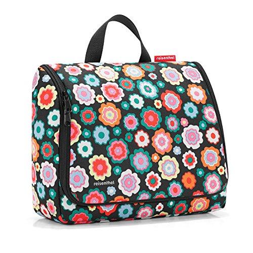 reisenthel toiletbag XL WO7048 happy flowers – Kulturbeutel mit 4l Volumen – Aufklappbar mit Haken zum Aufhängen und Spiegel – B 28 x H 25 x T 10 cm