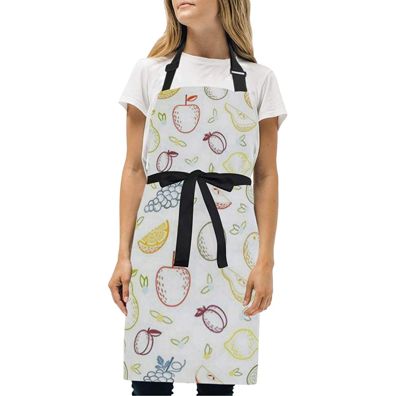 HJudge Womens Aprons Watercolor Fruit World Kitchen Bib Aprons with Pockets Adjustable Buckle on Neck