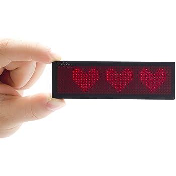 デジタルledスクロール電子名札 充電式小型LED電光掲示板 LEDネームプレート多言語表示(赤)