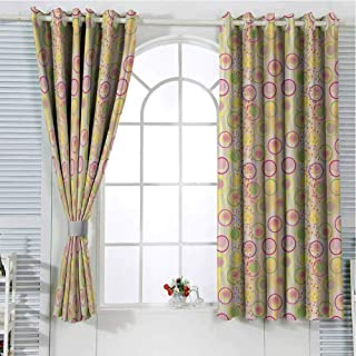 Jinguizi Grommet Window Curtain Blackout Curtains for Bedroom Geometric,Circular Disc Shaped Rounds with Pastel Toned Spots Creative Concept,Yellow Peach Lime Green Window 72 x 63 inch
