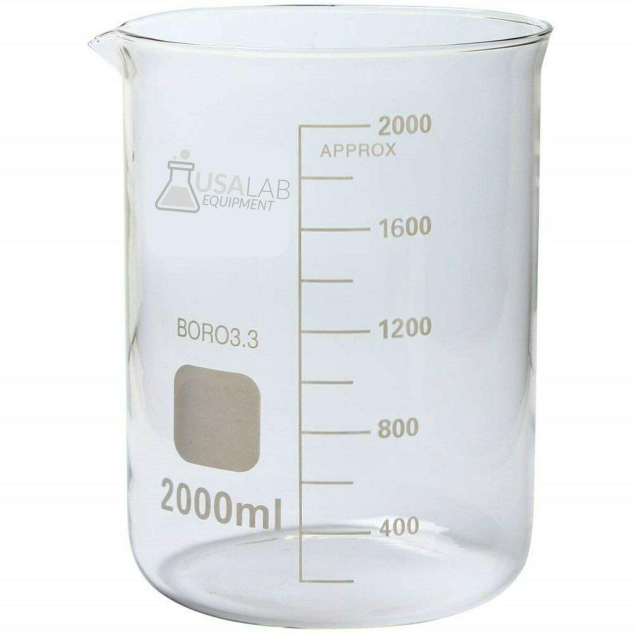 Popular brand in the world USA Lab Save money 2000ML Low Form Beaker and with Spout Borosilicate 3 Pri