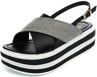 YUBIN Sandalias Mujeres Estudiante De Fondo Grueso Roma Salvaje Una Palabra Neto Rojo Zapatos De Playa Aumentar Vacaciones De Ocio (Color : C, Tamaño : 39)