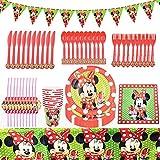 Set de Fiesta de Cumpleaños de Mickey, BESTZY 82PCS Cumpleaños Vajilla Set de Fiesta Kids Birthday Mickey, Plato, Servilleta de Papel, Cuchillo, Tenedor, Taza, Mantel, Paja para Niños Baby Shower