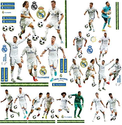 66 TLG. Set _ XL Wandtattoo / Sticker _  Fußball Mannschaft - Real Madrid - Club de Futbol / FCM - Fußballverein  - zum Spielen & als Deko - Wandsticker - A..