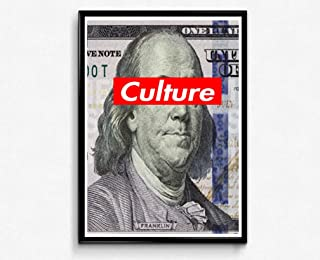 Rob's Tees Create Ben Franklin 100 Dollar Bill Poster, Culture Box Logo Style Poster, Hypebeast Poster Prints, Graffiti Street Art (Frame NOT Included) (24x30)
