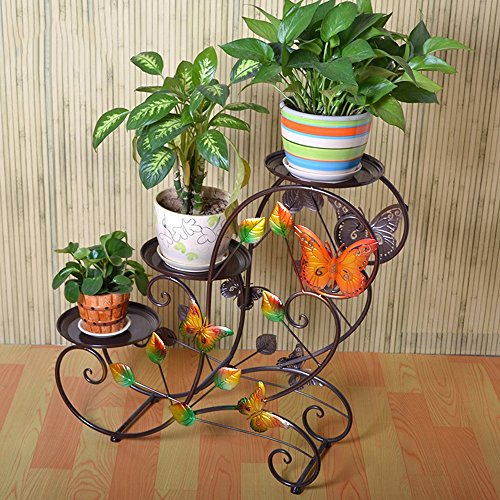 XIAOLIN- Pastoral Plancher de plancher Porte-fleurs Pots de plusieurs étages à l'intérieur et à l'extérieur Plateau de velours de radis vert (Couleur en option) --Cadre de finition de fleurs ( Couleur : Marron )