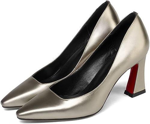 GAOLIXIA Femmes Dames Pointu En Cuir Talons Hauts Pompes Four Seasons Travail Party Chaussures Bureau Carrière Court Chaussures
