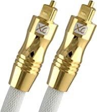 XO 26 ft / 8m Optical TOSLINK Digital Audio SPDIF Cable - White, Gold Series. 24k Gold Casing. Compatible with PS4/PS3, Xb...