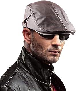 ba1450f179efe5 Samtree Men's Classic Newsboy Cap,PU Leather Gatsby Ivy Flat Golf Driving  Hat