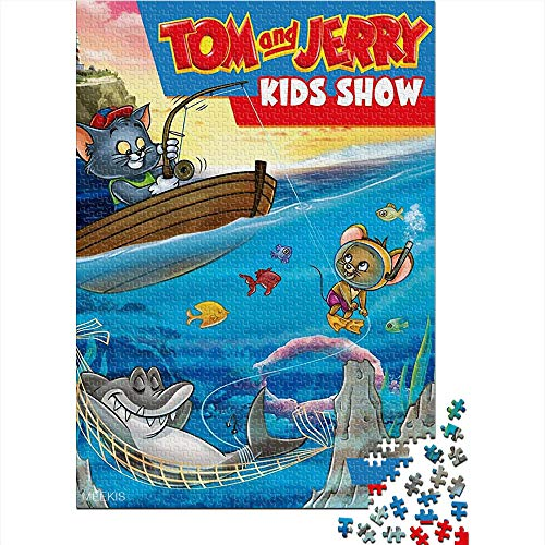 Puzzle Adulto 1000 Piezas Tom and Jerry Children's Show TV Show Poster 1000 Rompecabezas para Adultos Juguetes de Bricolaje de Entretenimiento en casa para Adolescentes 52x38CM(1000pcs)