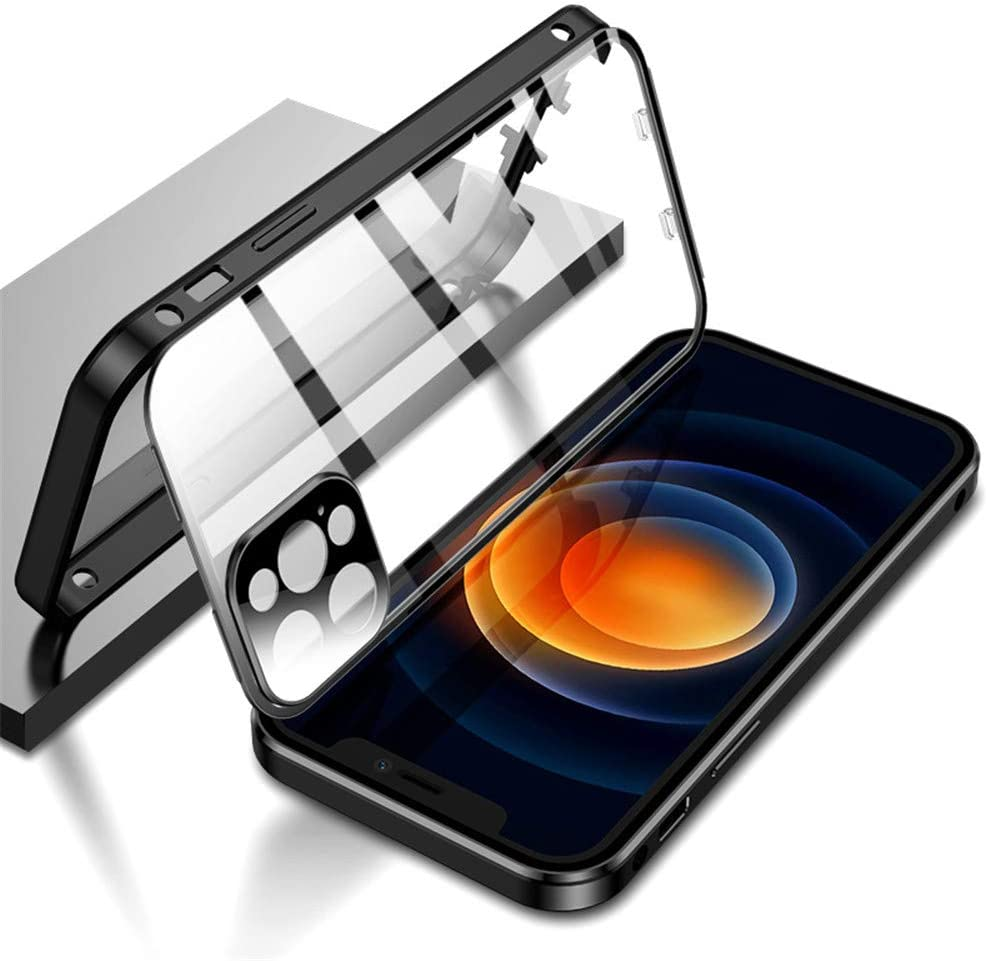 KMXDD Double Safety Lock Case for iPhone 12 Pro Max Bumper Case with Camera Lens Protector Double Sided Glass Built-in Screen Protector 360 Full Body Metal Frame Clear Cover (iPhone12ProMax, Black)