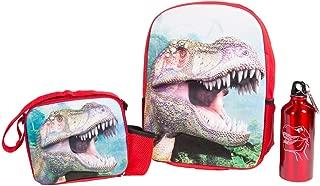 Kids 3D TRex Dinosaur Backpack Lunch Box Lunchbox Water Bottle Set