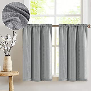 Lazzzy Gray Tier Curtains for Bathroom 36 Inch Grey Waterproof Kitchen Curtains Over Sink Waffle-Weave Textured Cafe Curtain Set 1 Pair
