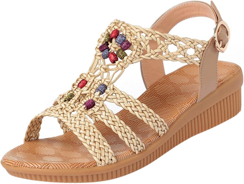 SK Studio Women Weave Leather Low Heel Wedge Boho Sandals Open Toe Ladies shoes