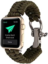 for iWatch 40/44/38/42mm Survival Band, Nylon Rope Wrist Strap with Rugged Outdoor Survival Stainless Steel Shackle and 550 Paracord for Apple Watch Series 4 3 2 1 (Army Green, 42/44mm)