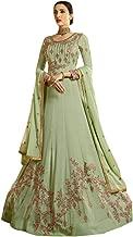 Pistachio Anarkali Indian Ethnic Long Festive Wedding Wear Suit With Dupatta 7417