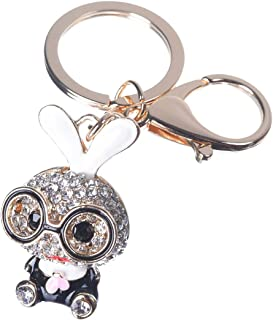 Girl's Rabbit Keychain Gold Plated Bag Charm Cute Car Key Ring Crystal Purse Pendant #51610